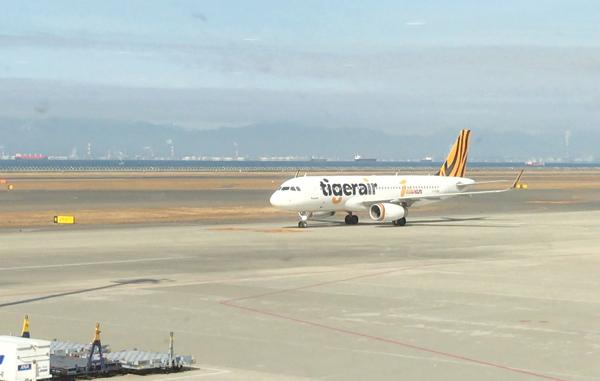 着陸したタイガーエア台湾機