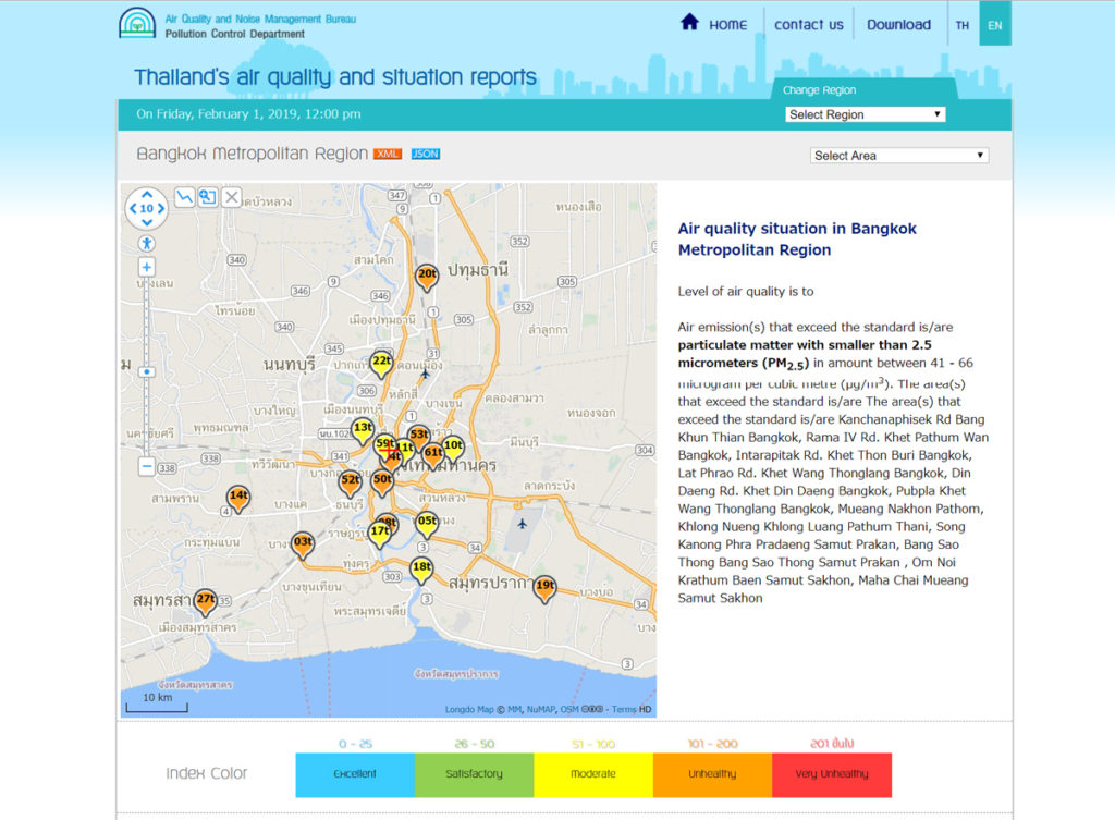 Thailand's air quality and situation reports