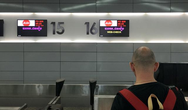 プノンペン空港のチェックインカウンター