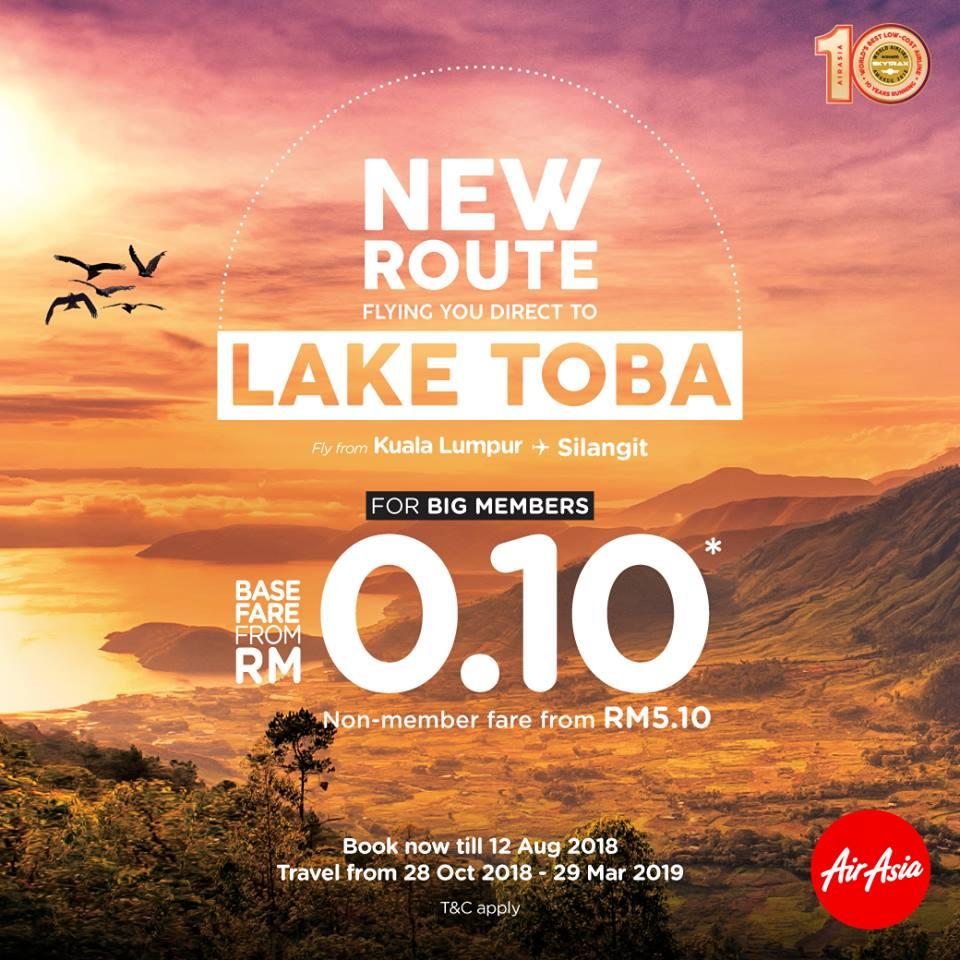 エアアジア、KL~トバ湖線を新規開設