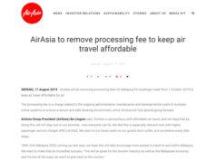 エアアジア、支払い手数料を無料化