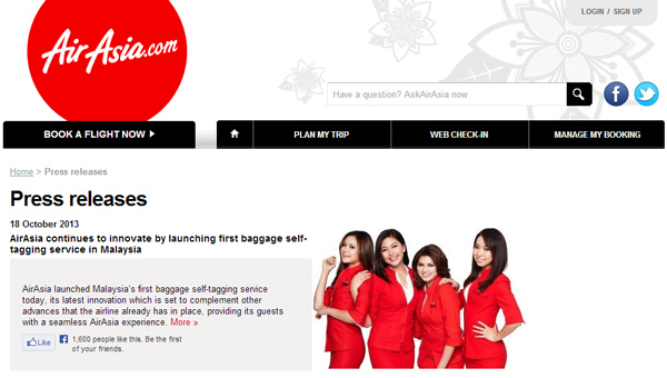 エアアジア セルフタグサービスを開始