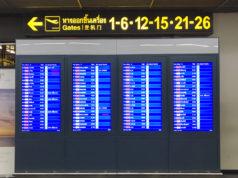 バンコク・ドンムアン空港の出発案内表示