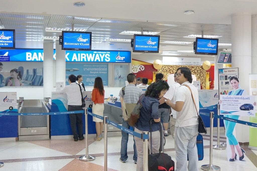 チェンマイ空港 バンコクエアウェイズのチェックインカウンター
