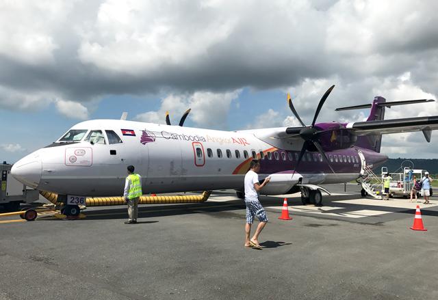 カンボジア・アンコール航空のATR72型機