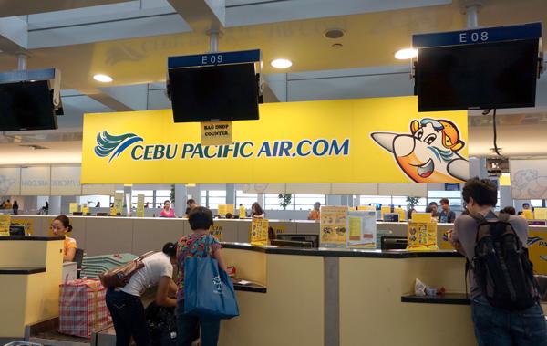 セブパシフィック航空のチェックインカウンター