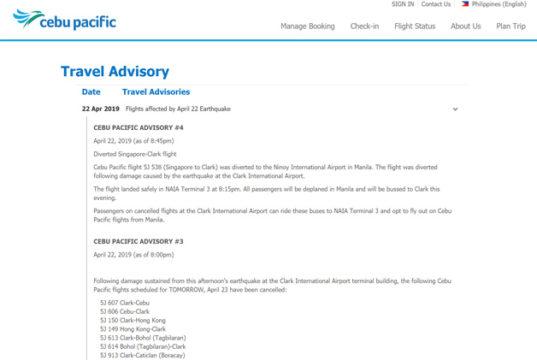 クラーク国際空港が一時閉鎖