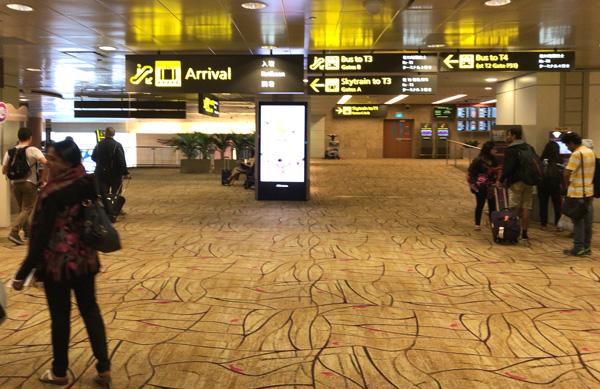 チャンギ空港に到着