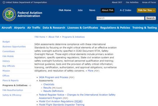 International Aviation Safety Assessment (IASA) Program