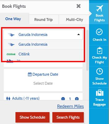 フライト検索画面