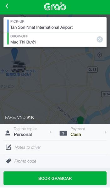 Grabアプリの画面