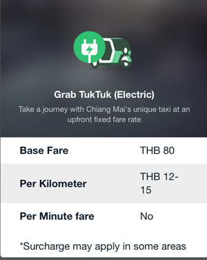 Grab TukTuk(Electric)の料金体系
