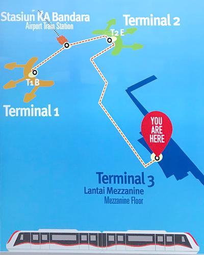 スカルノ・ハッタ空港 各ターミナルの位置
