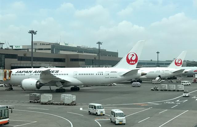 成田空港に駐機中のJAL機
