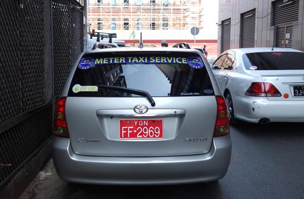 ヤンゴンのメータータクシー