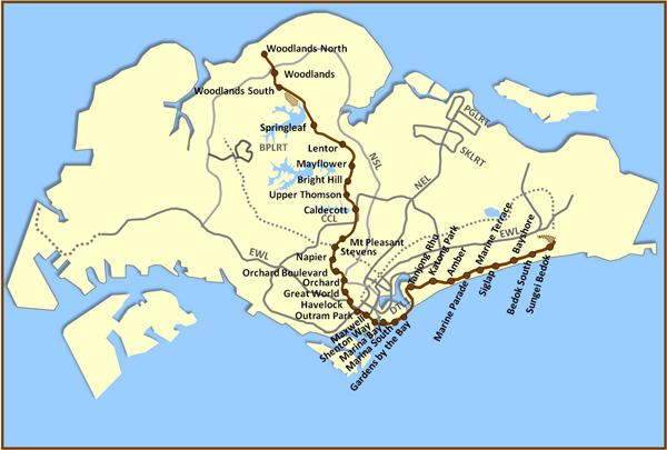 シンガポールMRTトムソン・イーストコースト線 路線図