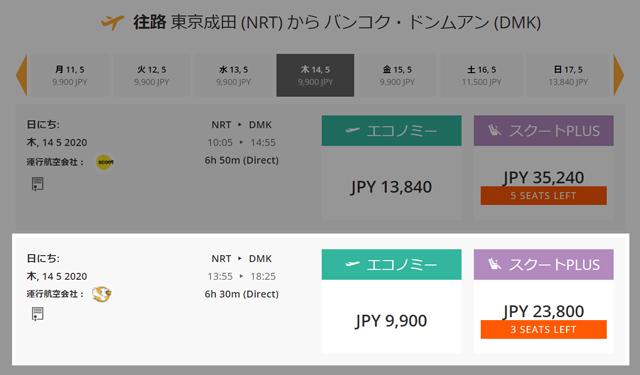 成田発バンコク行きが9,900円