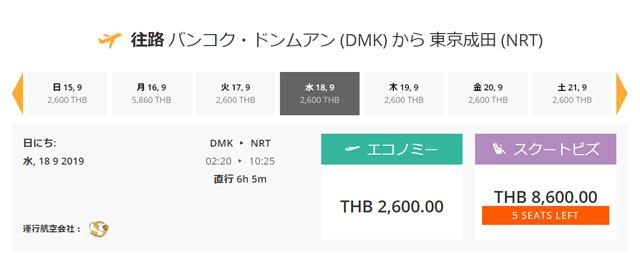 バンコク⇒成田は2,600バーツ