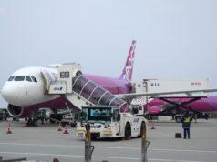 那覇空港の駐機中のピーチのエアバスA320型機
