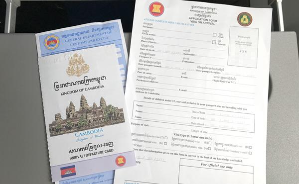 出入国カード、税関申告書、ビザ申請用紙