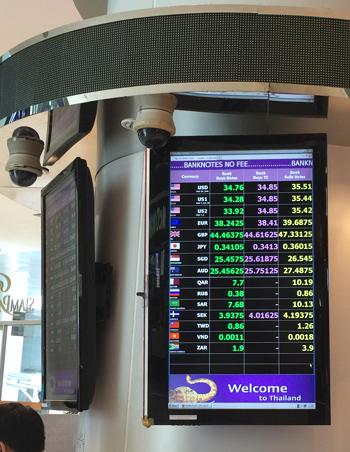 サイアムパラゴン内 銀行の両替レート