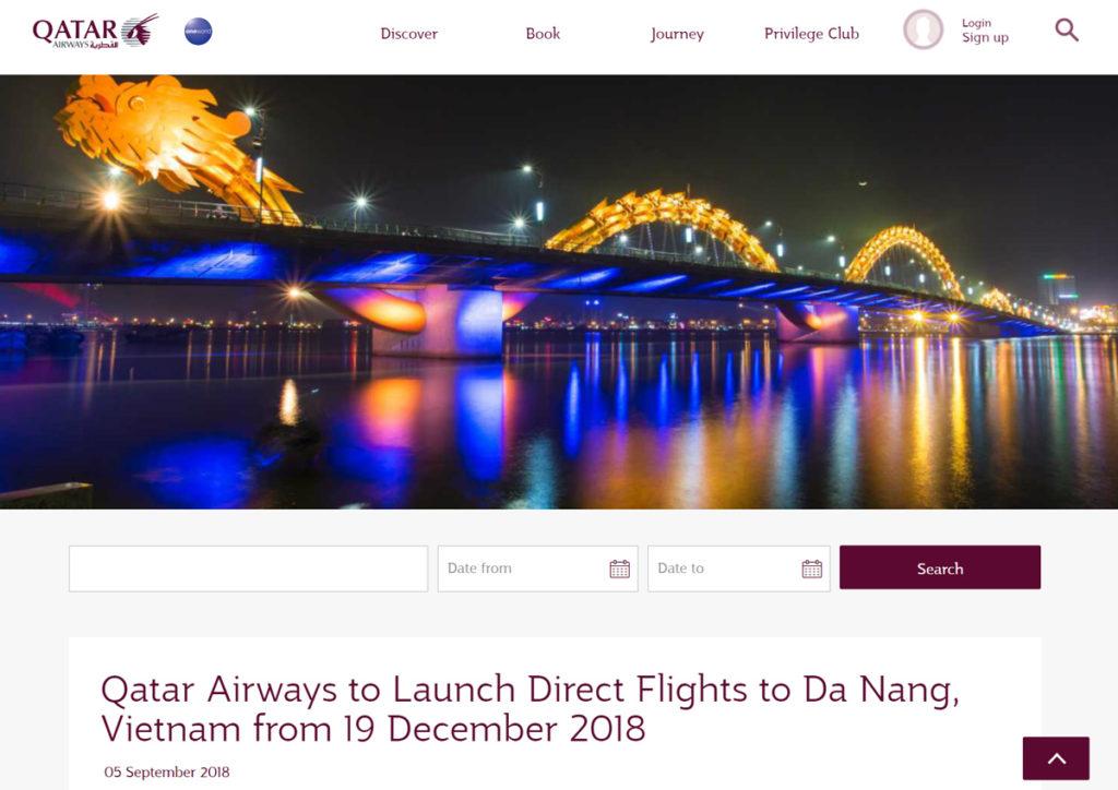 カタール航空、ドーハ~ダナン線に新規就航