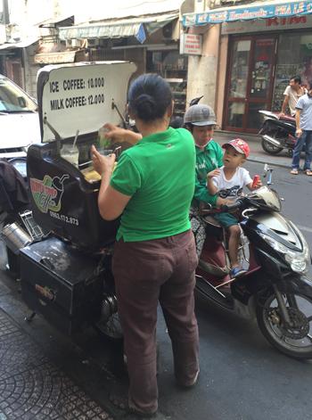 バイクのコーヒー売り