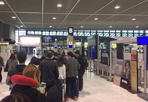 成田空港ターミナル2 スクートのチェックインカウンター