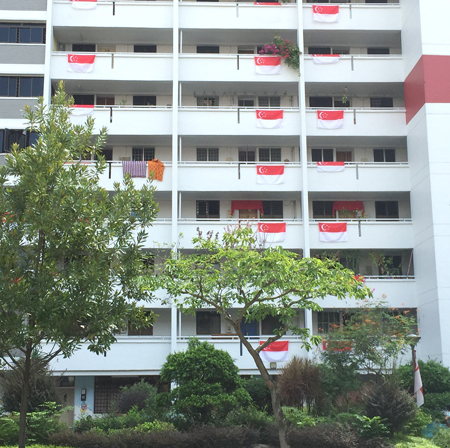 HDBに掲げられた国旗