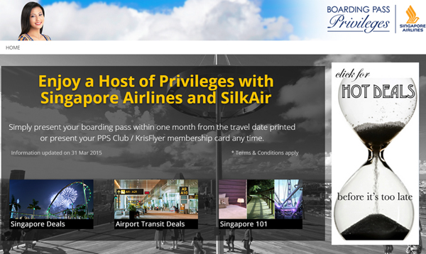 Singapore Airlines Boading Pass Privileges