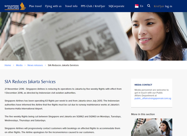 SIA Reduces Jakarta Services