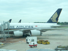 チャンギ空港に駐機中のシンガポール航空機