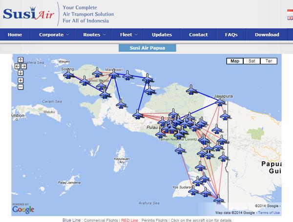 スシ航空のルートマップ