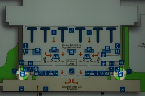 タンソンニャット国際空港 国際線ターミナルの地図