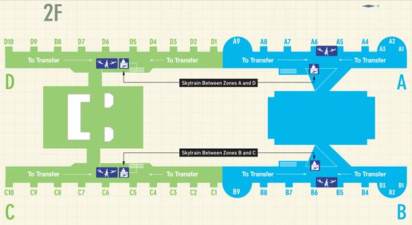 台湾桃園国際空港での乗り継ぎ案内図
