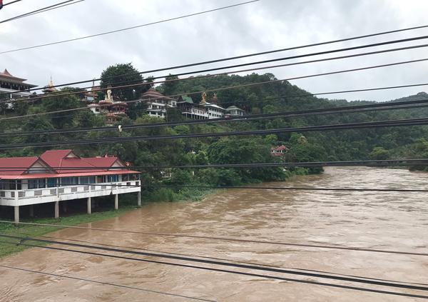 雨で水量を増したコック川
