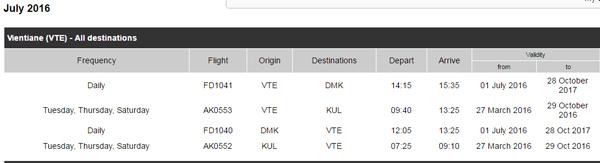 タイ・エアアジアのフライトスケジュール検索画面