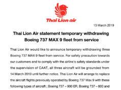 タイ・ライオンエア、ボーイング737MAX9型機の使用を停止