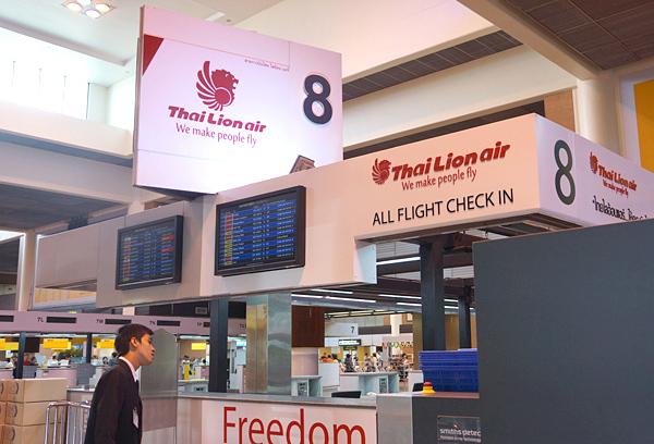 ドンムアン空港 タイ・ライオンエアのチェックインカウンター