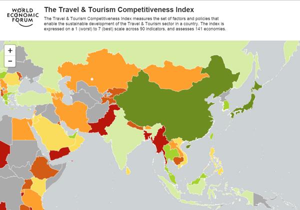 旅行・観光競争力ランキング2015年版のインフォグラフィックス