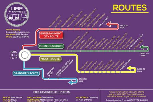 UBEエクスプレスのルートとバス停