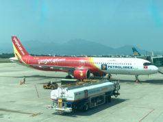 ダナン空港に駐機中のベトジェットエア機