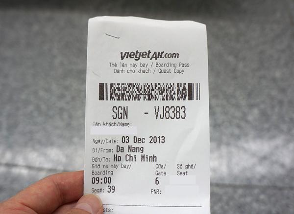 ベトジェットエア レシートタイプの搭乗券