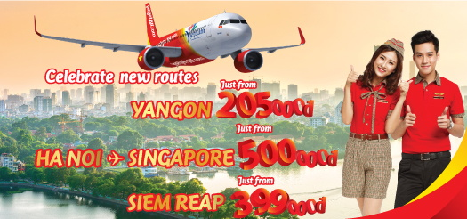 ベトジェットエア ハノイ~ヤンゴン線に新規就航