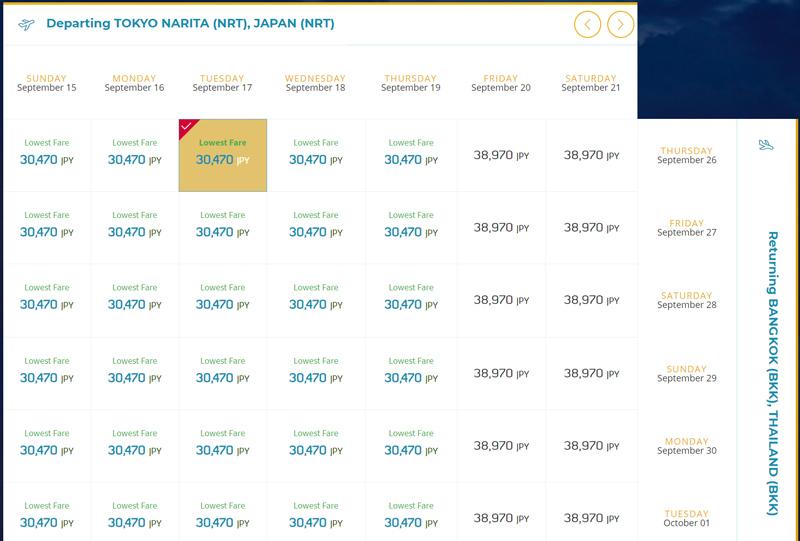 成田~バンコクは総額で最安値30,470円