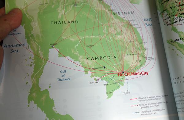 ベトナム航空のルートマップ