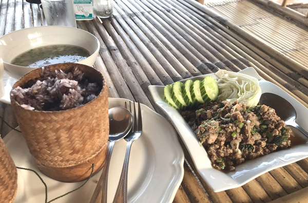 アヒル肉のラープとカオニャオ