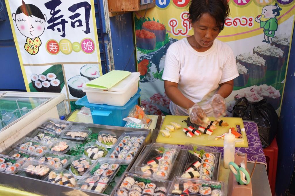 ヤンゴン路上のすし屋